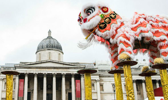 Trafalgar square chinese dragon