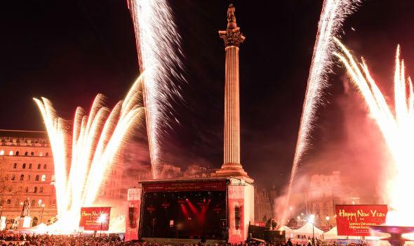Trafalgar square chinese new year fireworks